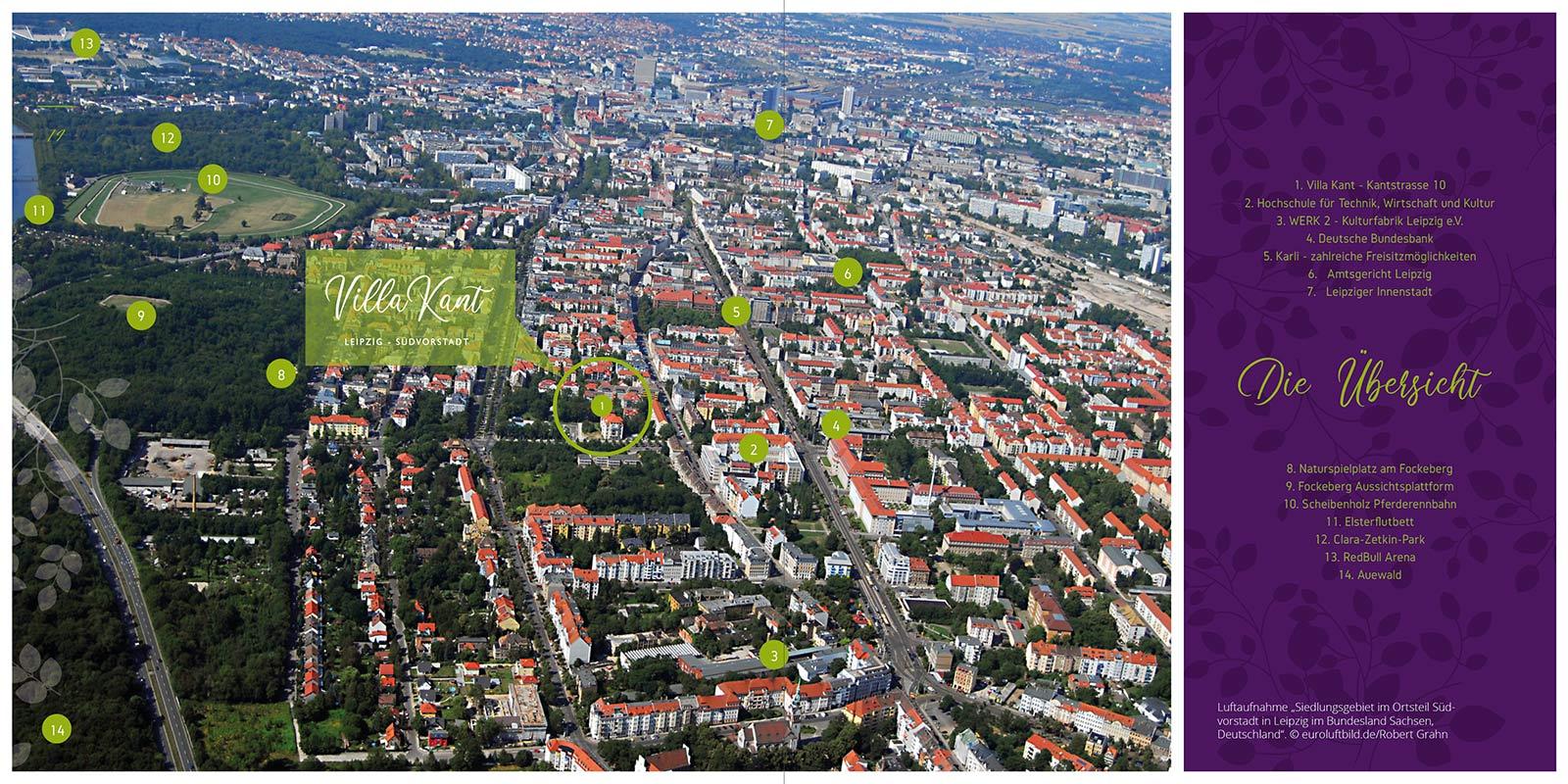 Luftaufnahme der Leipziger Südvorstadt